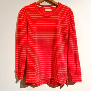 NATION Red White Striped Sweatshirt Knit Pullover